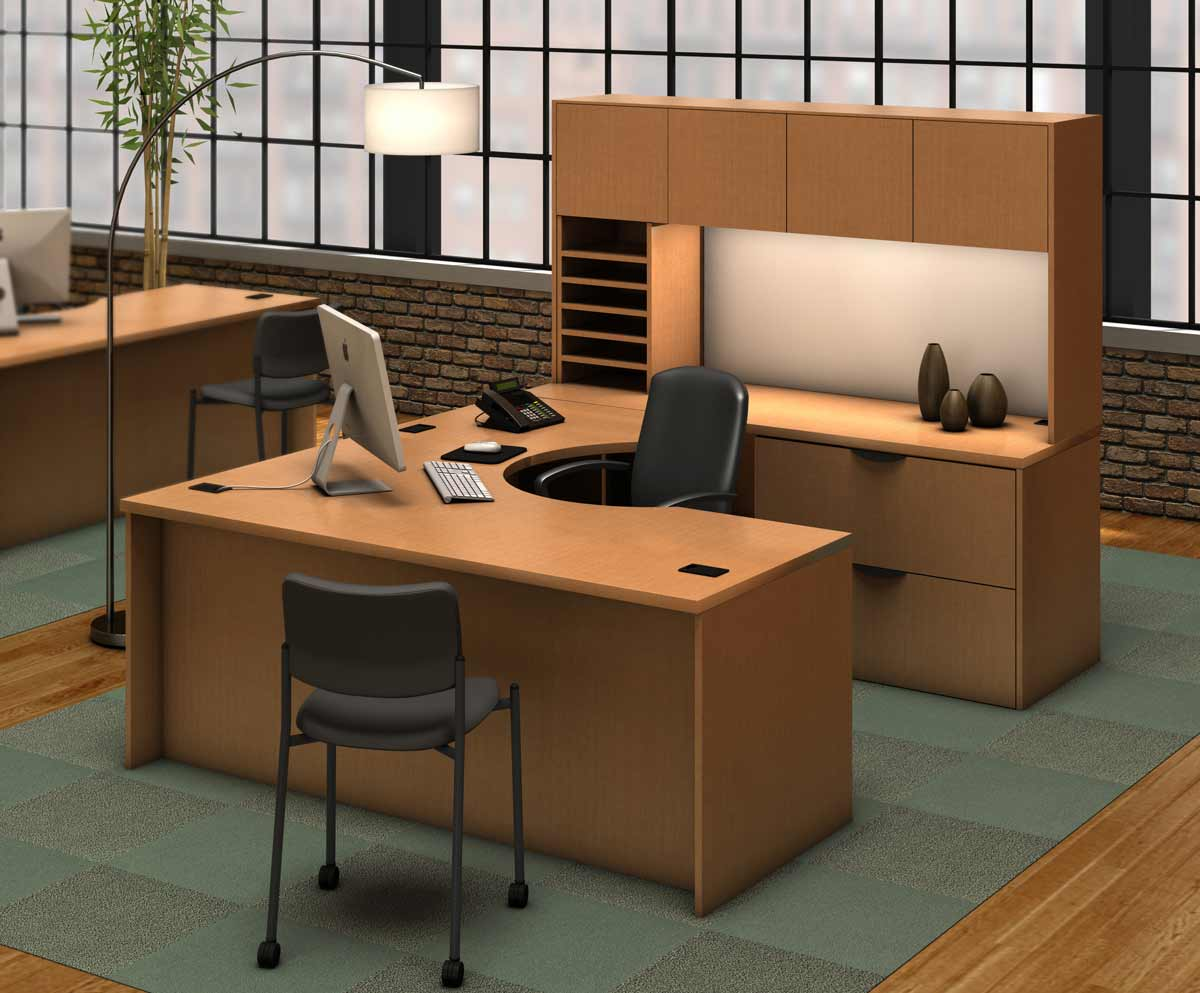 Executive computer desk with hutch design