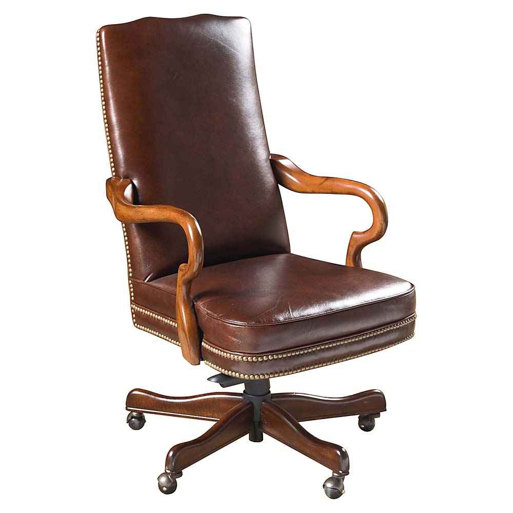 HIgh back brown leather chair with handcrafted wooden arms