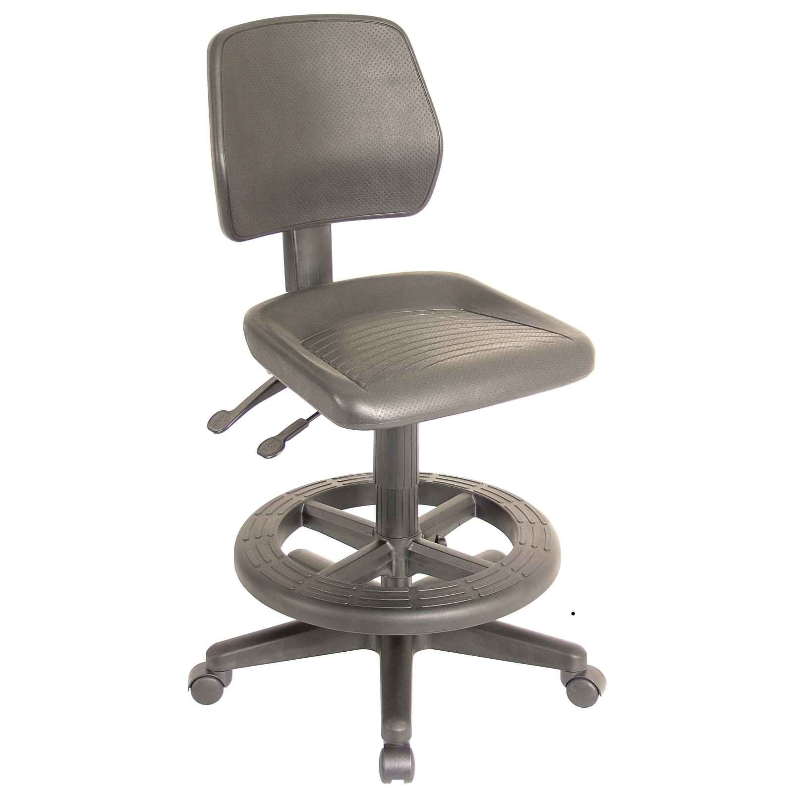 Industrial Brown Adjutable Height Drafting Chair