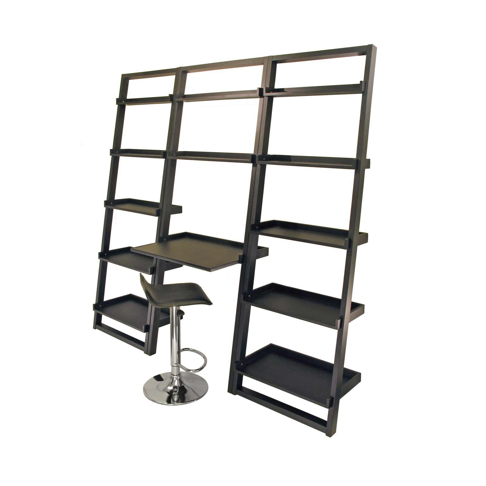 Loft Black Leaning Shelves with Work Desk