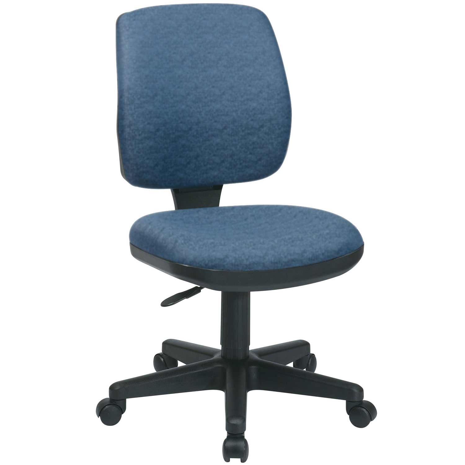 Luxury Blue Fabric Armless Task Chairs