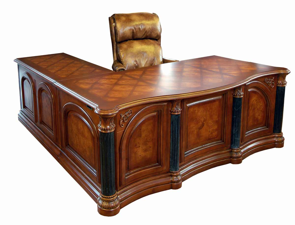 Monte Carlo Executive Cherry Office L-Shaped Desk