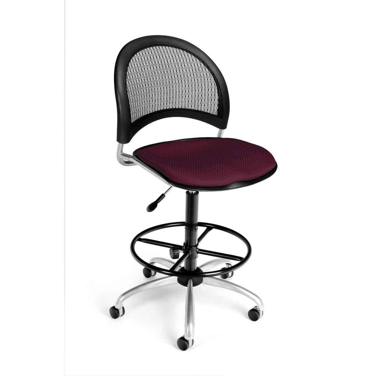 OFM Burgundy Armless Modern Mesh Drafting Chair