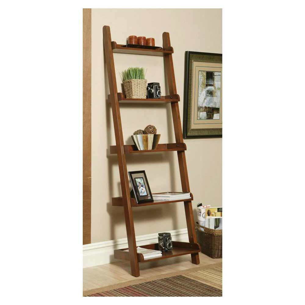Open Style Contemporary Leaning Mahogany Wall Bookcase