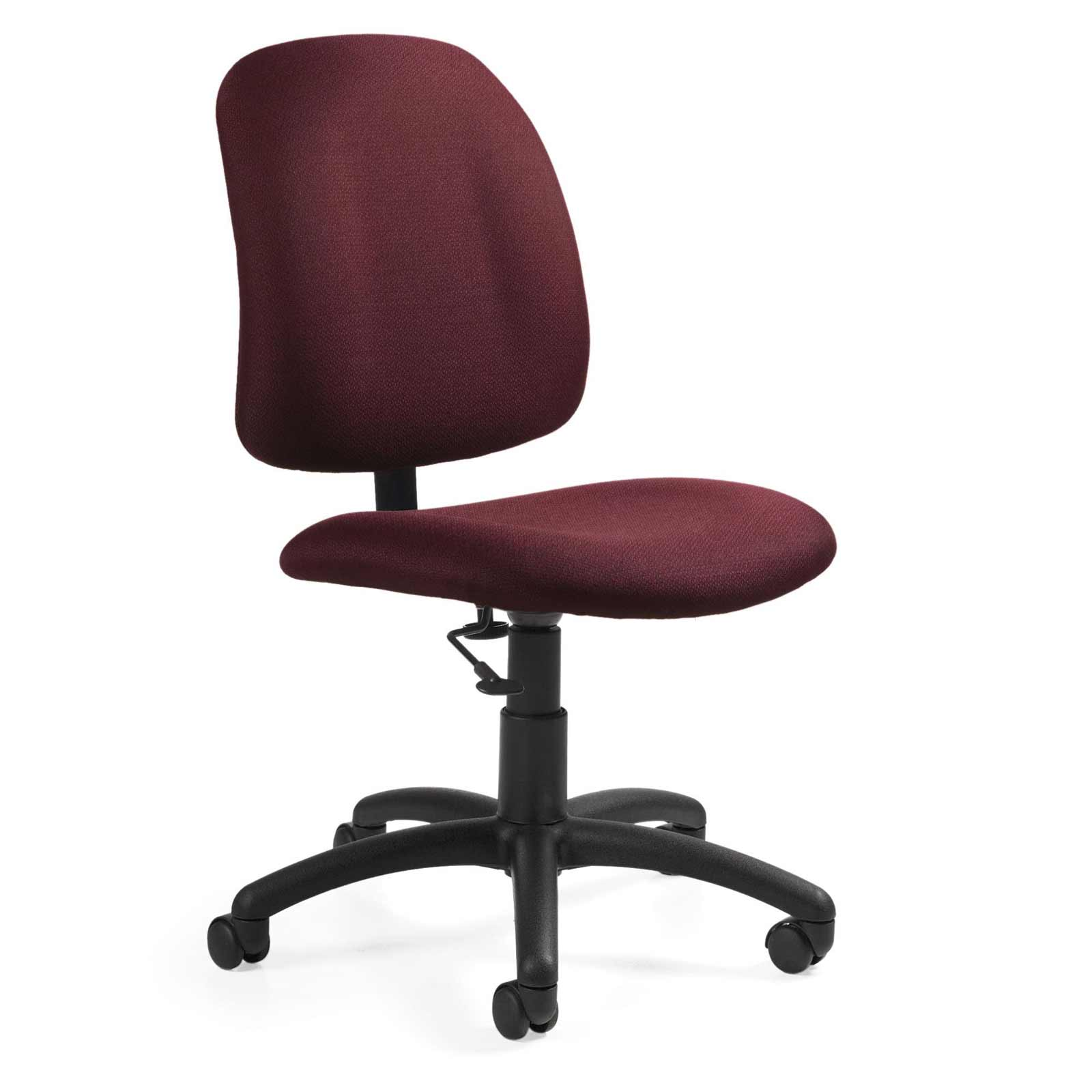 Red Armless Task Chair with Low Back Pneumatic