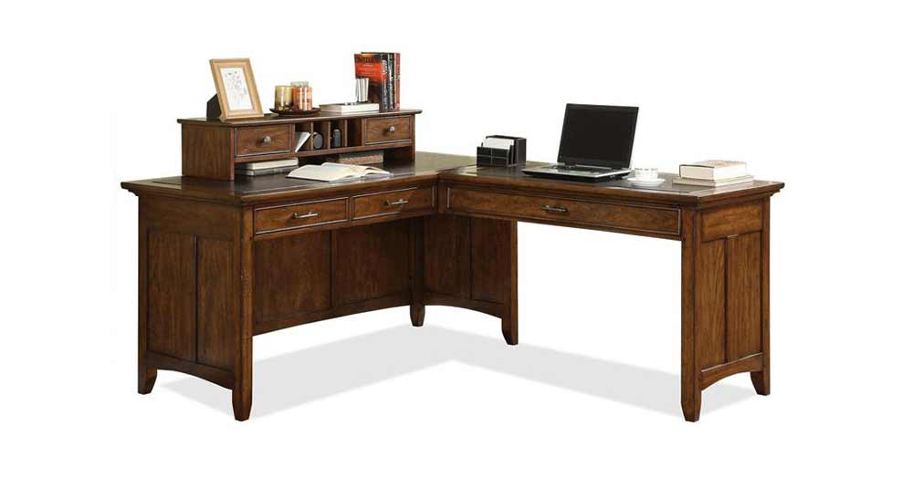 Riverside Wooden L-Shaped Laptop Desk with Drawer