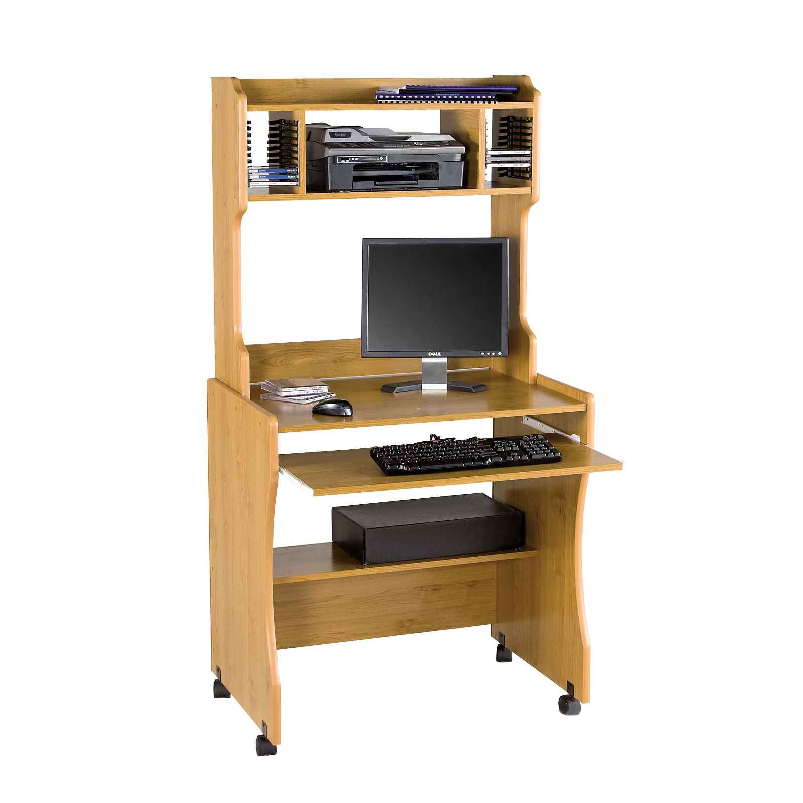 Solid Wood Ergonomic Computer Workstation with Hutch