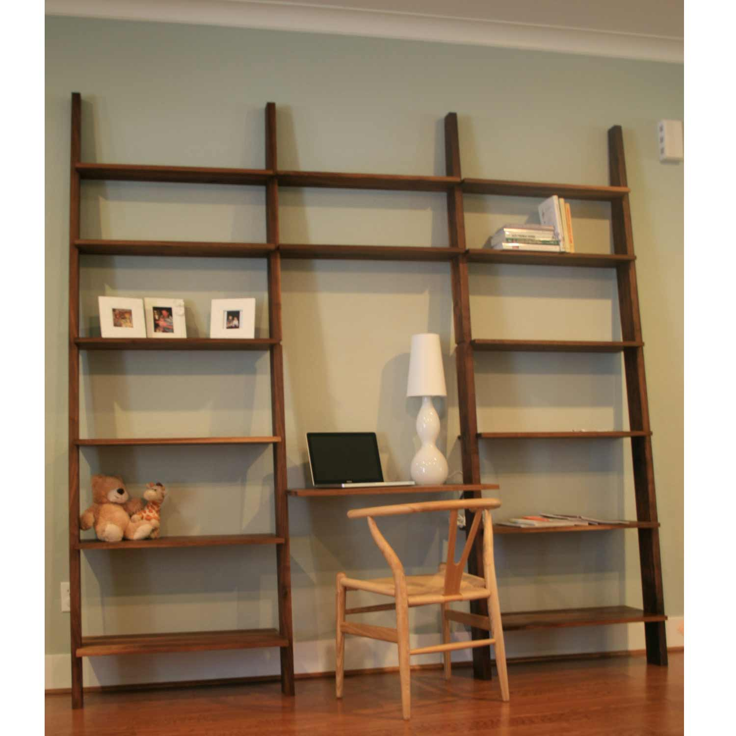 Stylish Walnut Leaning Wall Bookshelf