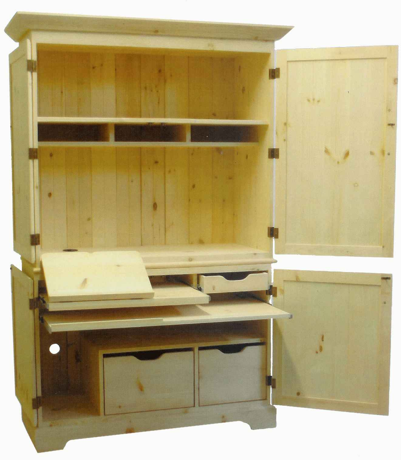 Unfinished Mission Style Computer Armoire with Hutch