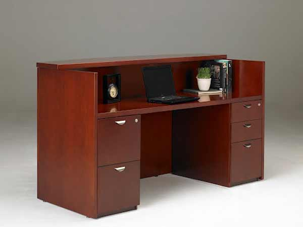 Used front reception desk with storage cabinet