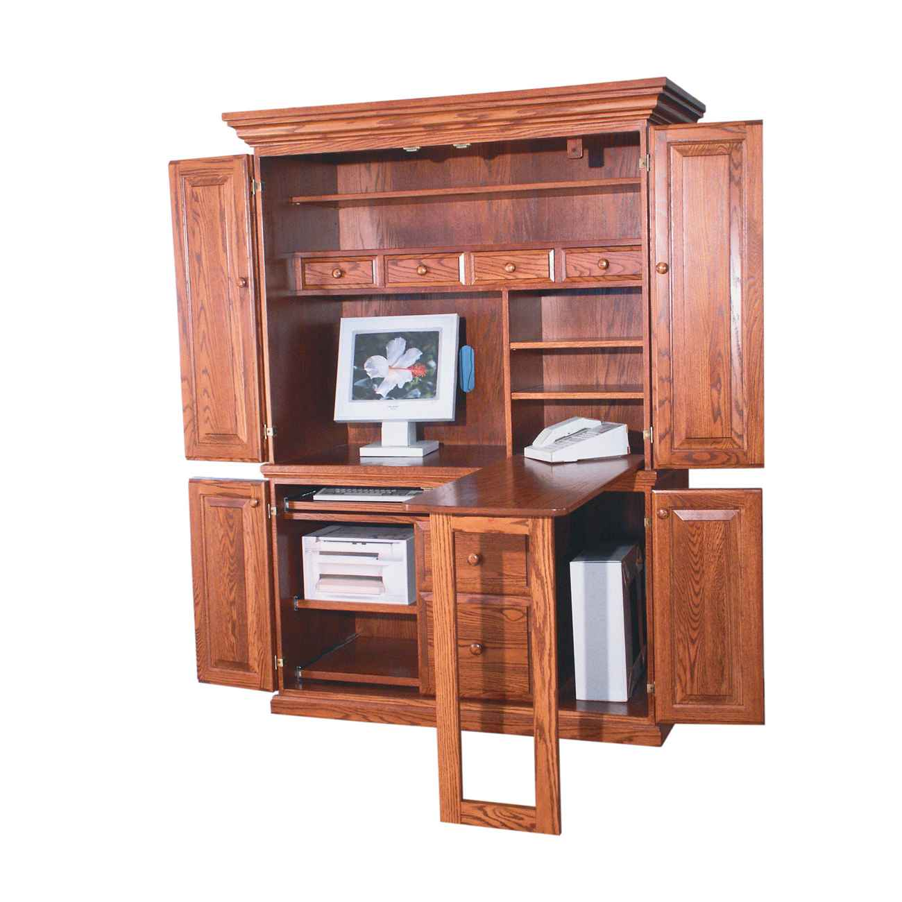 Wooden Computer Armoire with Expandable Desk