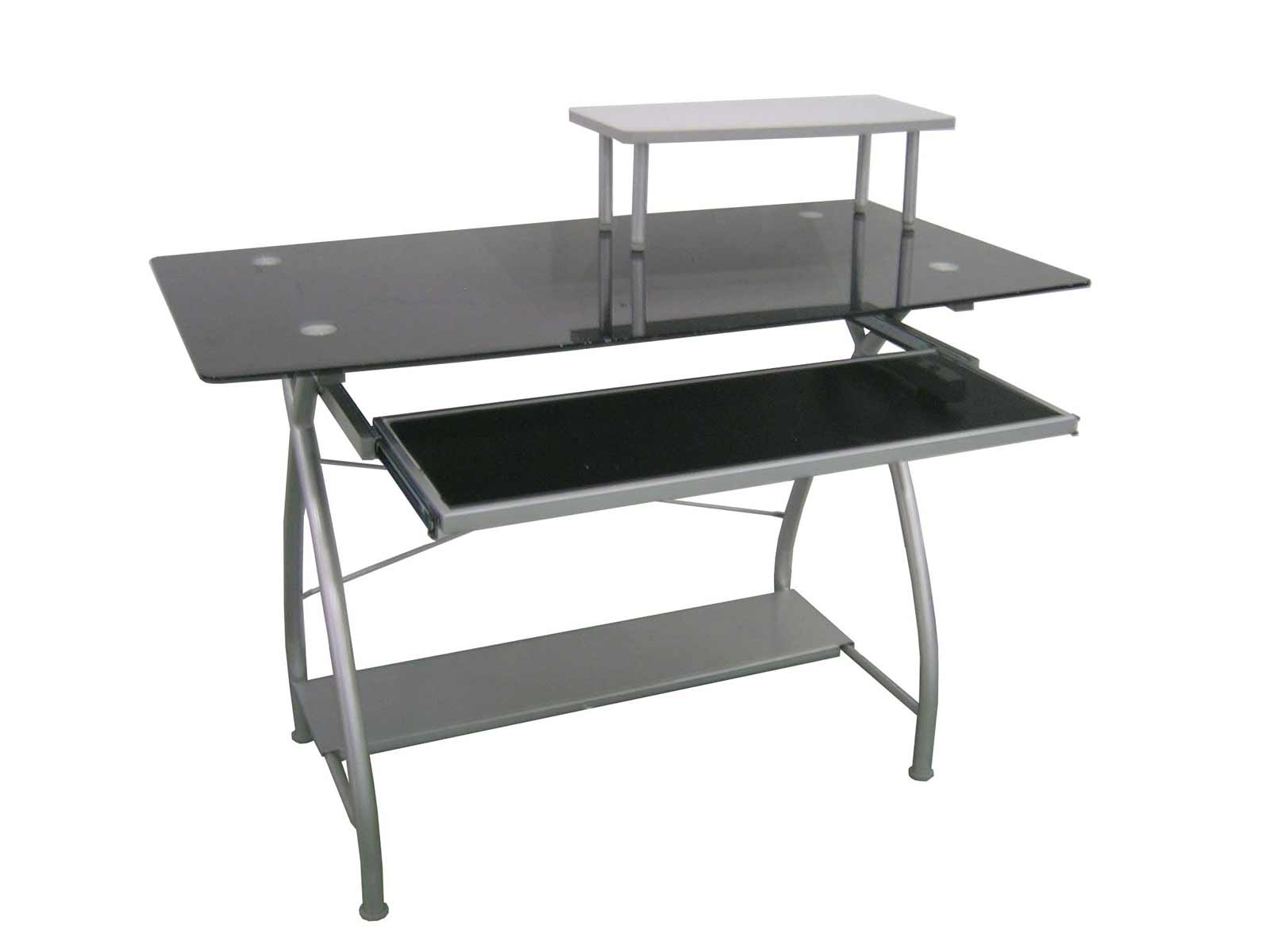 top glass office metal computer desk