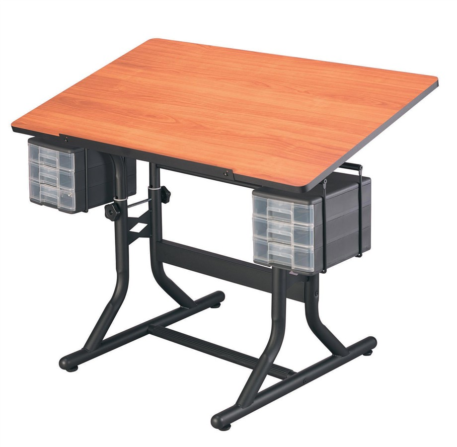 Adjustable Drawing Desk with Drawer in Tubular Steel