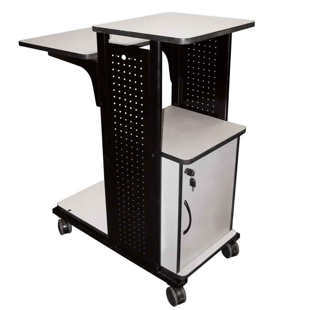 Adjustable side laptop computer stand with caster