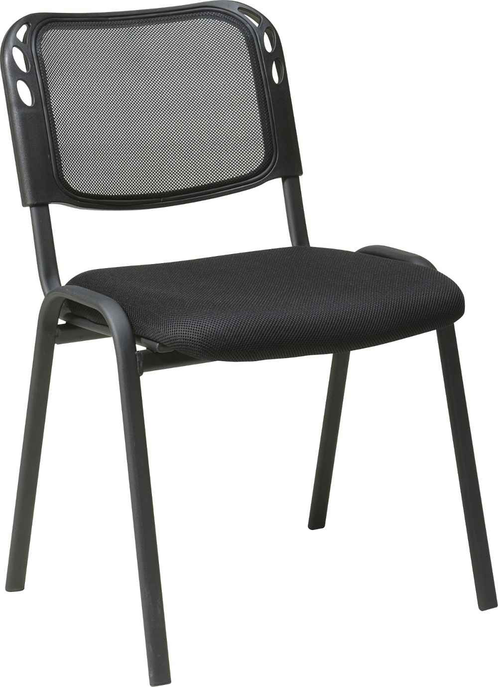 Armless Black Mesh Stacking Workstation Chair