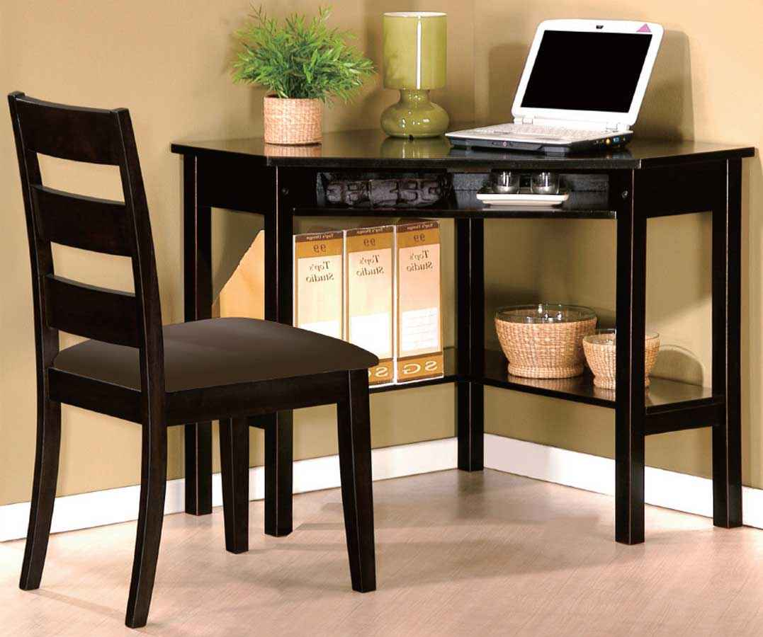 Benton Black Personal Computer Corner Desk and Chair