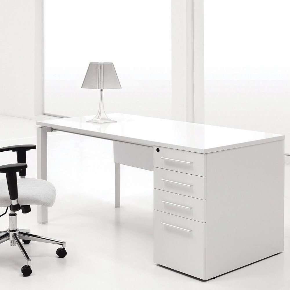 Ergo Office White Lacquer Computer Desk with Single Pedestal
