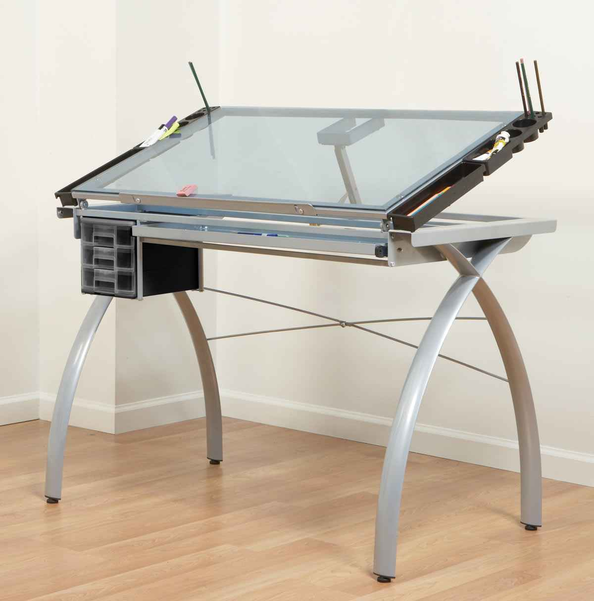 Futura Modern Drawing Table with Clear Glass Top