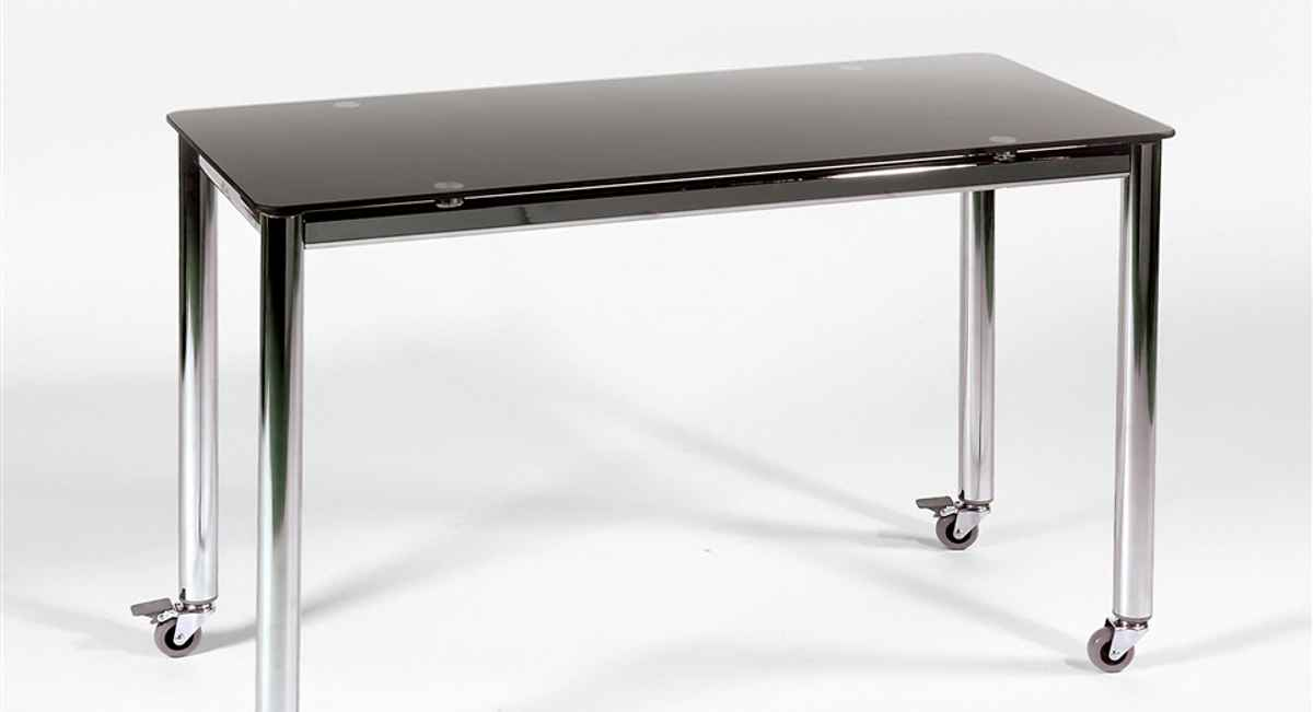 Industrial tempered glass computer table with chromed steel base