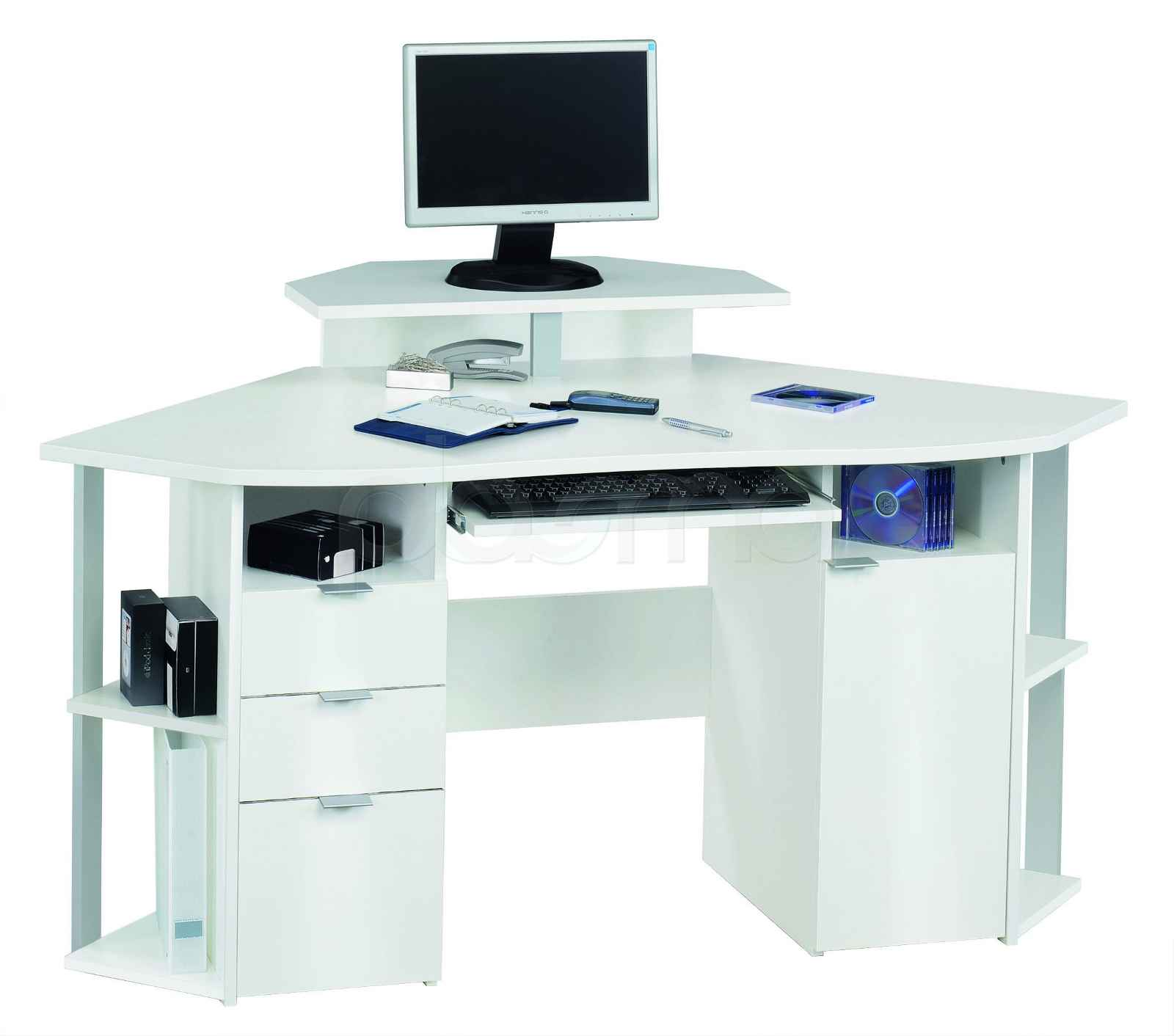 Jahnke Corner Computer Table in Solid White