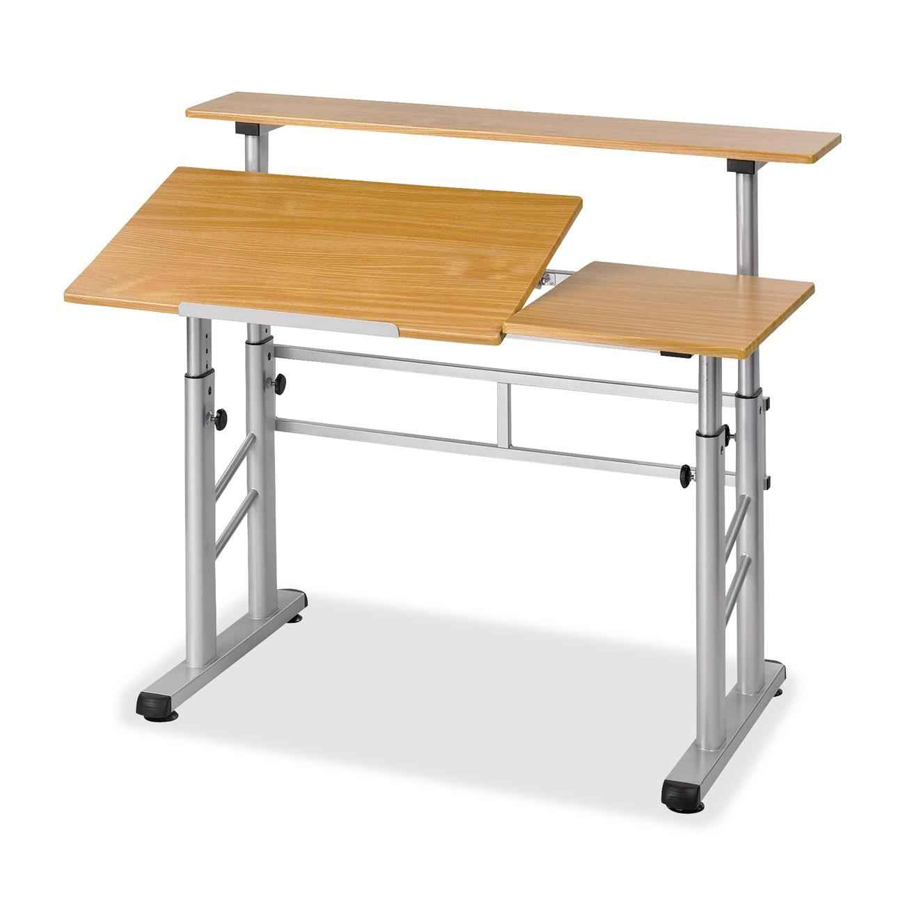 Safco Split Level Wooden Drafting Table with Adjustable Height