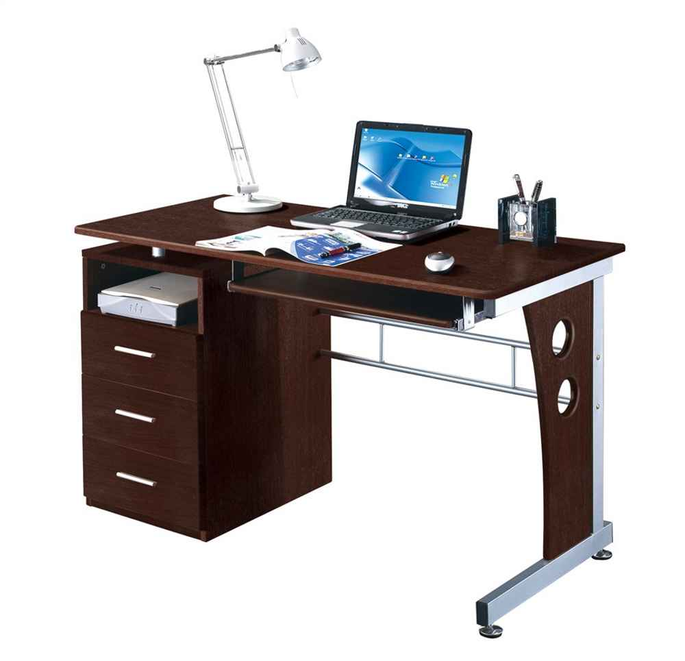 Techni Mobili Laminated Contemporary Glass and Steel Desk