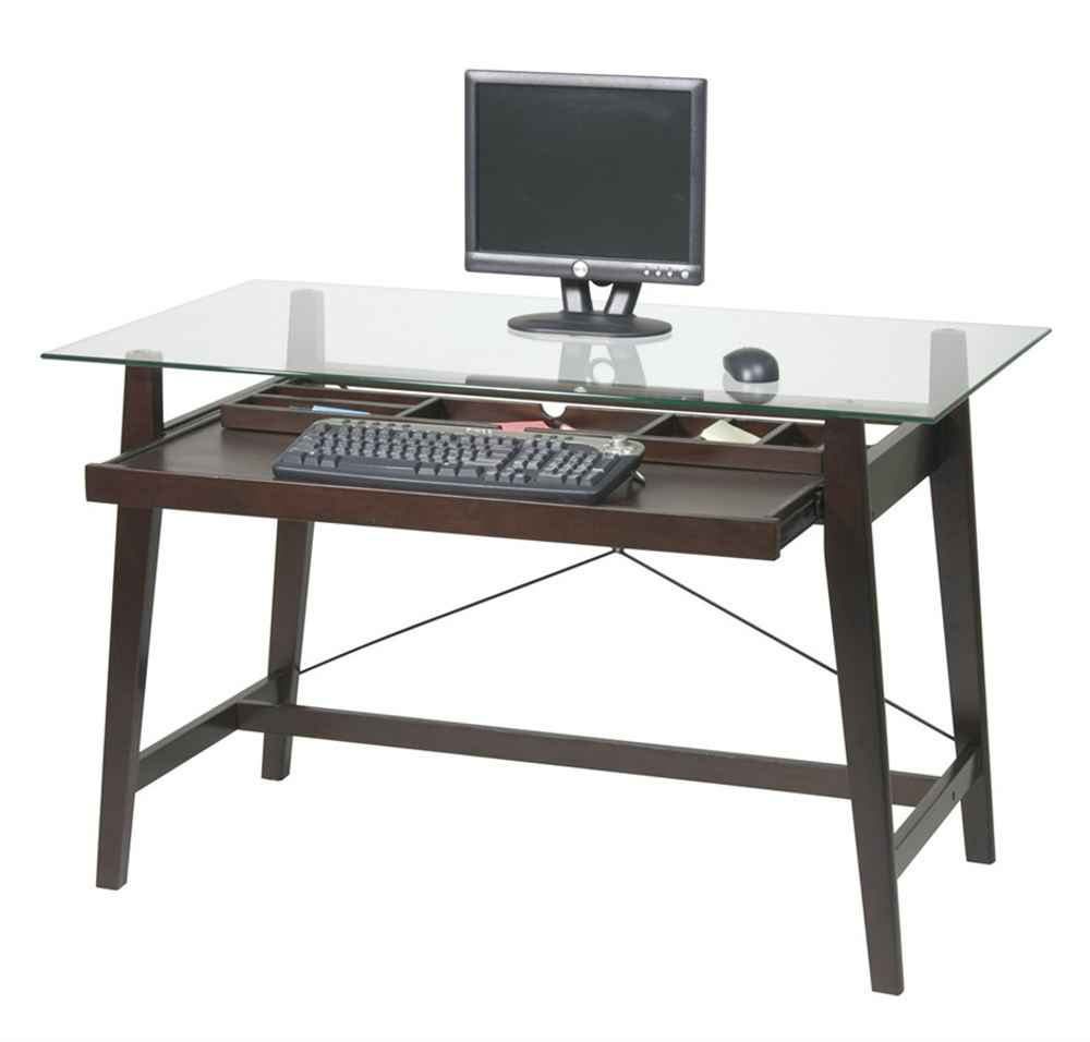 Tribeca Tempered Glass Top Computer Desk in Espresso