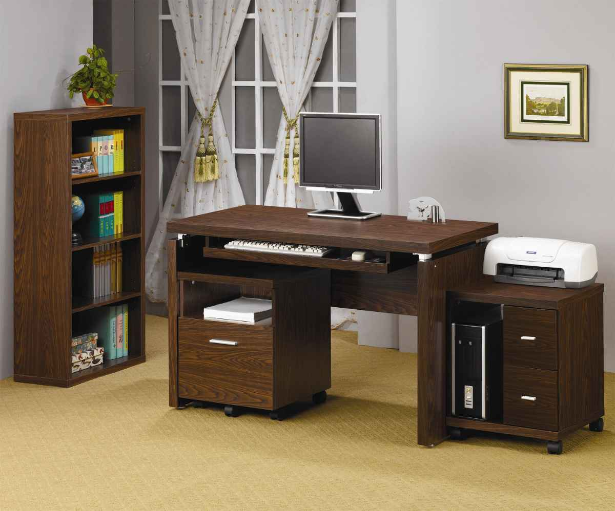 Wooden personal computer desk with storage