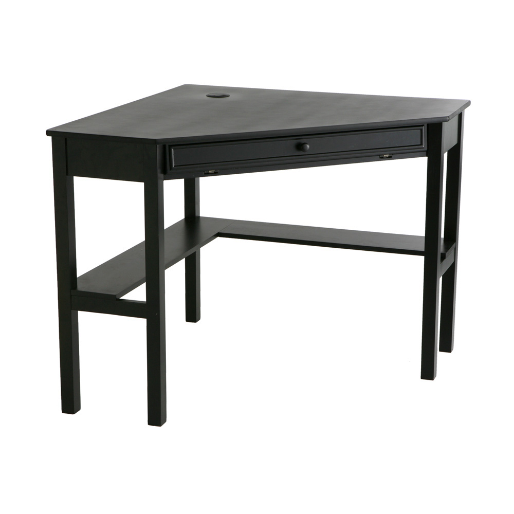 SEI Black Corner Laptop Computer Table