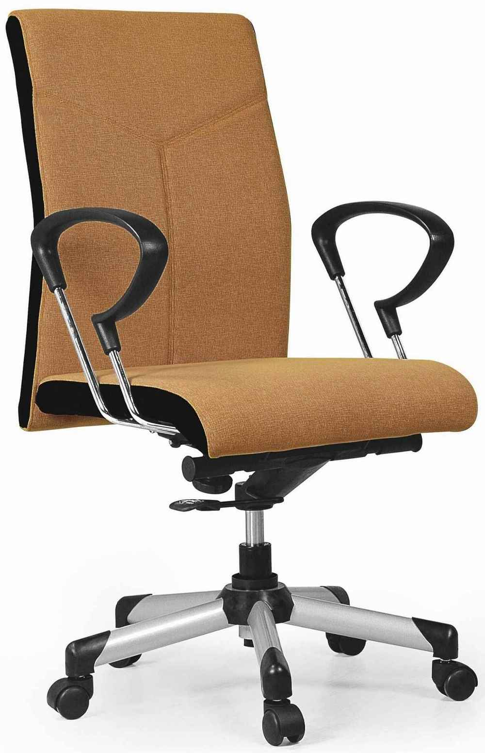 adjustable brown leather office armchair