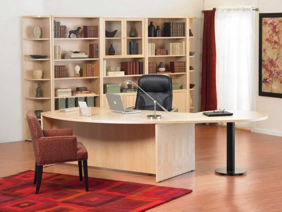Home office desk and chair with storage cabinet design