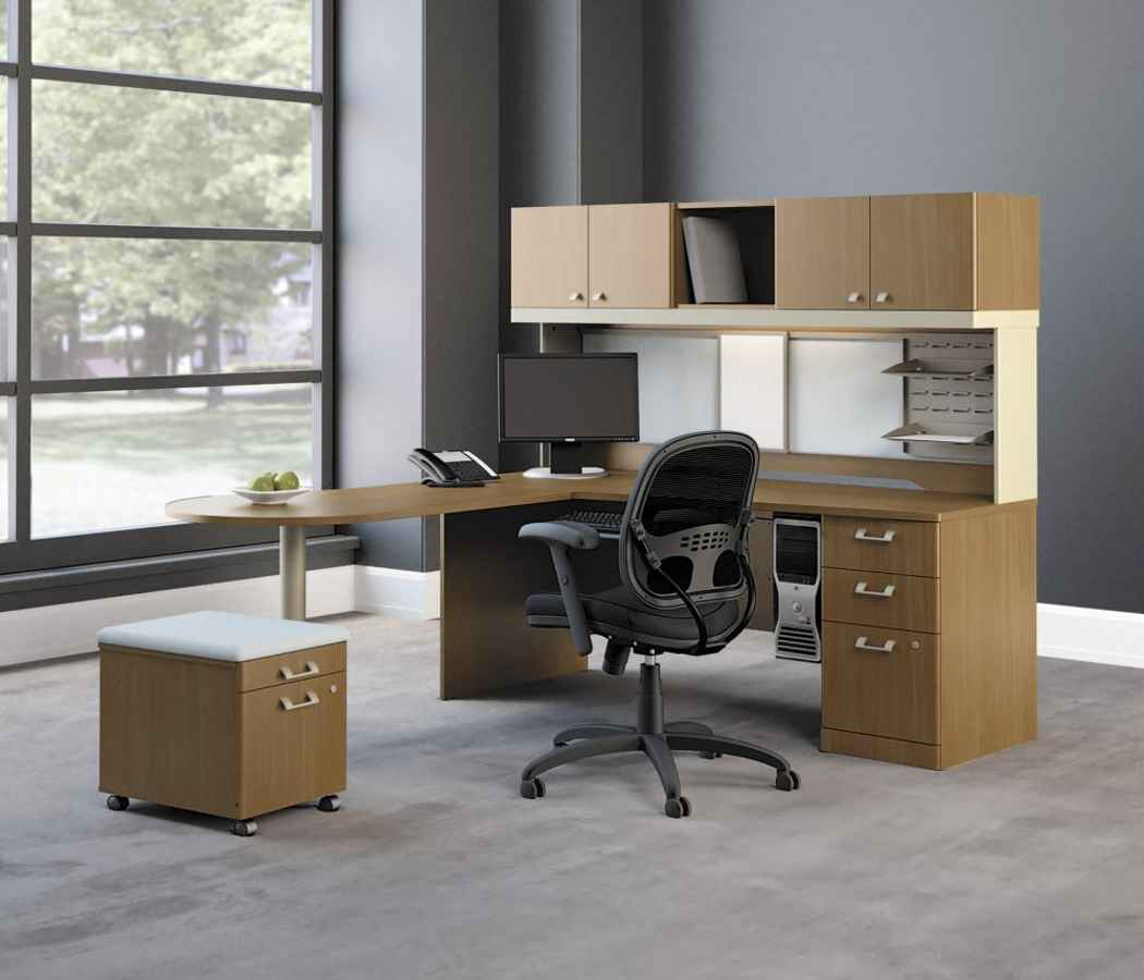 modern modular office computer desk with hutch