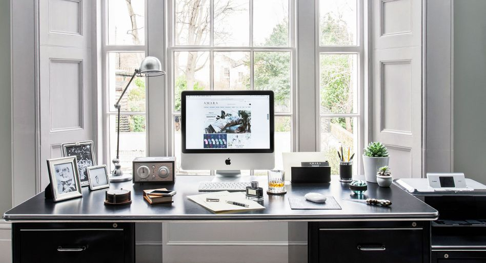 Black and white home office organizer theme