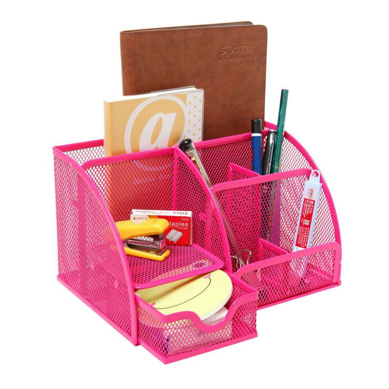 Pink desk organizers and accessories mesh design