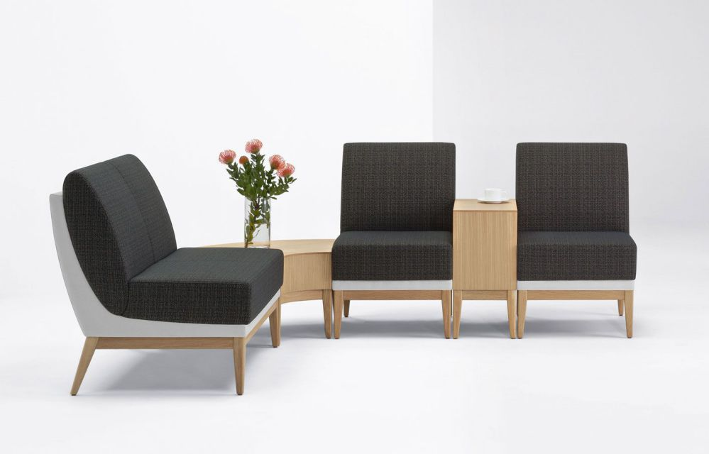 Armless reception desk and chairs with wood base