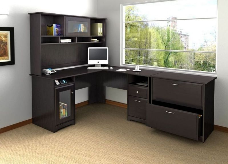 Big L-Shaped Brown Desk for Home Office