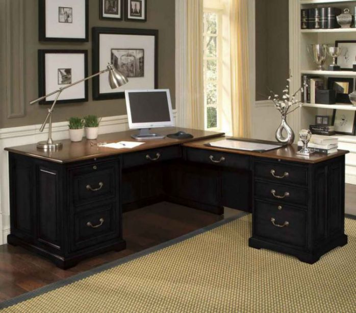 Black executive l shaped desk for home office