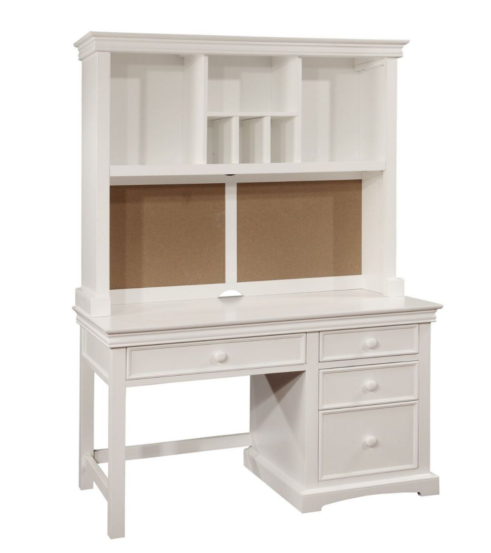 Bolton Furniture 865055500 Cambridge Pedestal White Computer Desks with Hutch Set