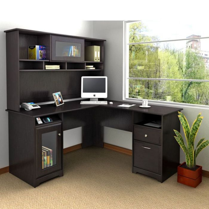 "Bush Cabot Collection 60"" L-Desk with Hutch"