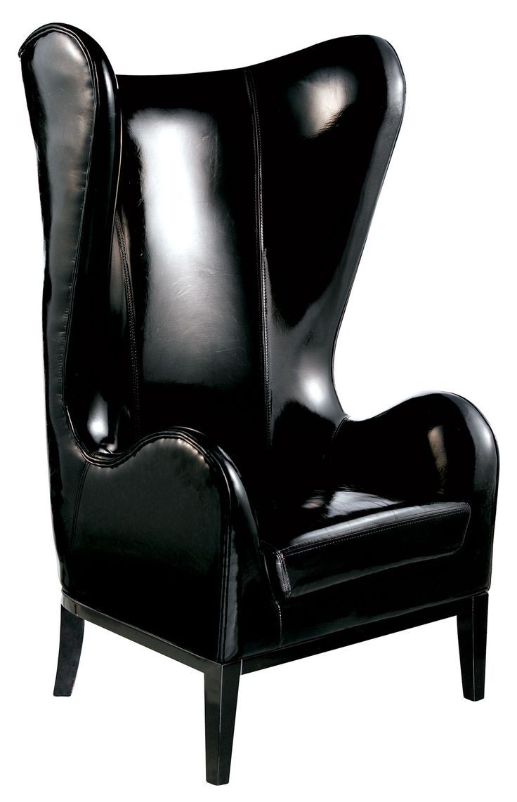 Classic high backed black patent leather smoke chair