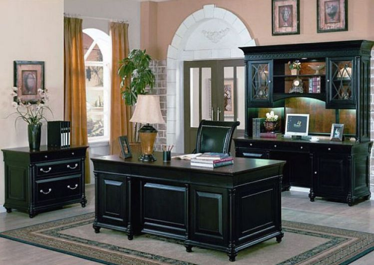 Classy Home Office Furniture Sets in Solid Black