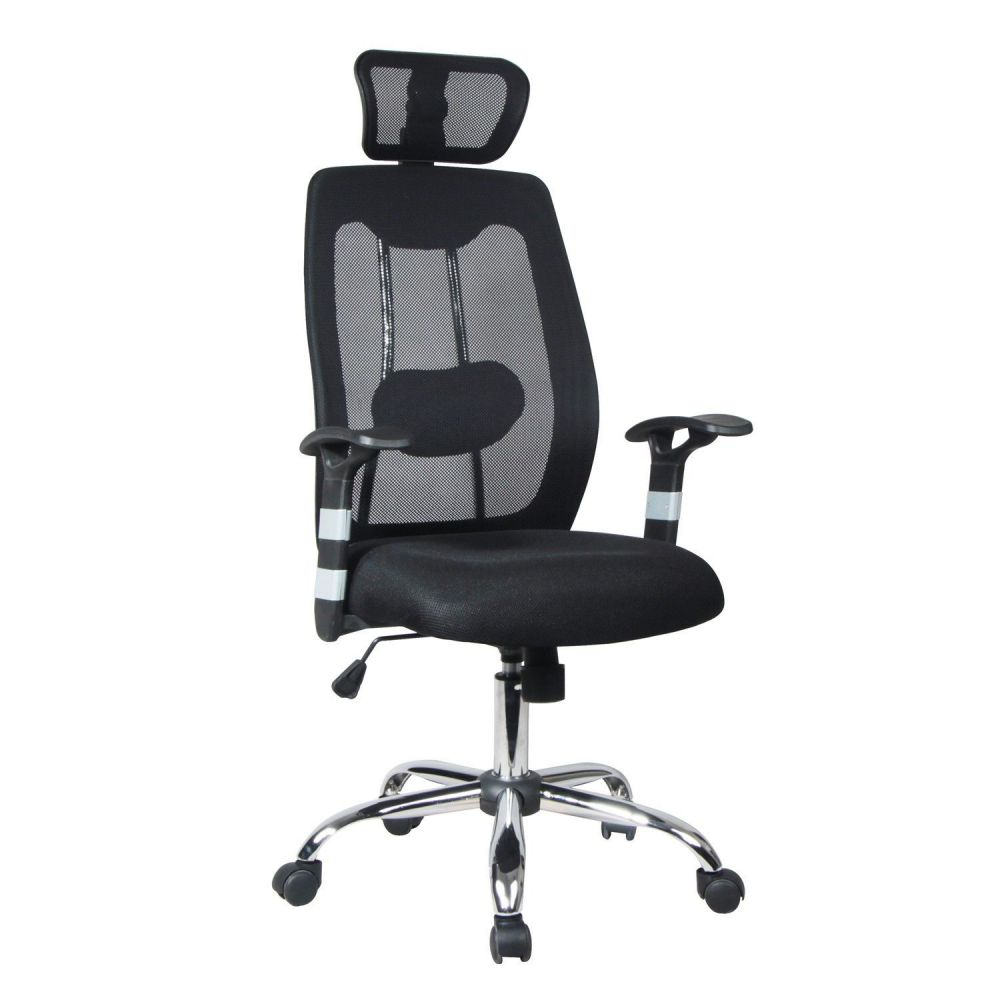 Homevision TygerClaw High-Back Black Mesh Home Office Chair with Headrest