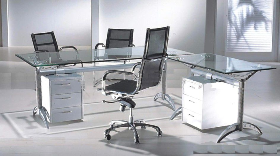 L-Shape Glass and Metal Office Desk Chair Sets