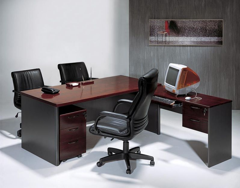 L-Shaped Office Desk with Black Chair