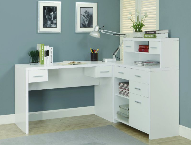L-shaped white office furniture collections