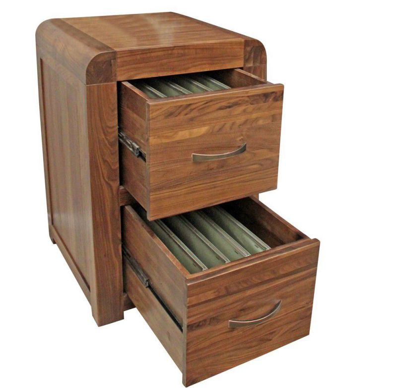 Lateral solid wood file cabinets with 2 drawers