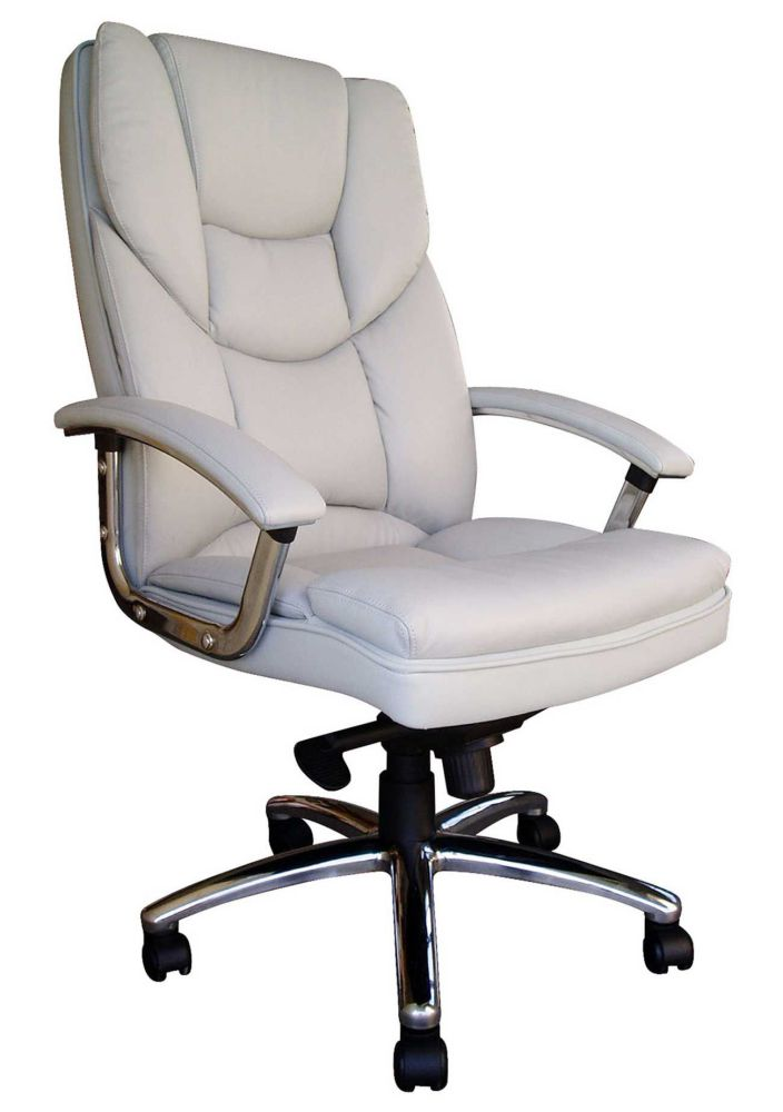 Leather White Office Desk Chair with Metal base