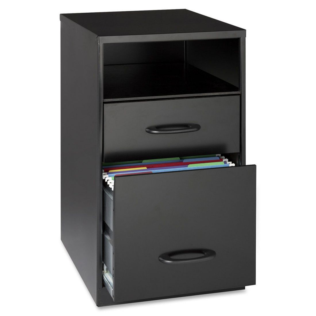 Lorell 18505 2-Drawer Black Mobile Metal File Cabinet with Shelf