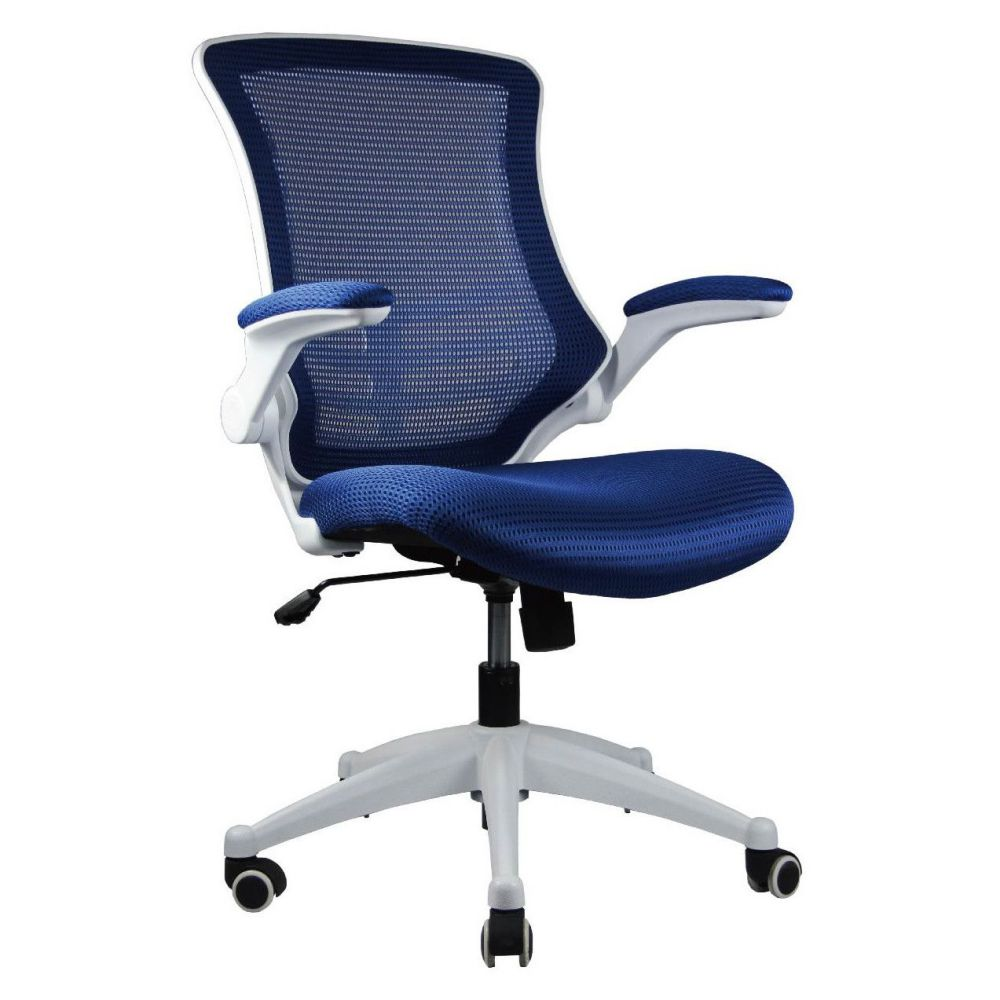 Manhattan Comfort High-Back Blue Mesh Conference Chair with Wheels