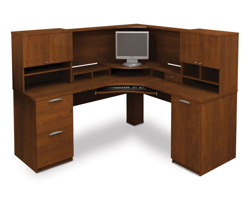 Maple Finished Corner Compuer Desk with Hutch